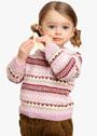 Для маленькой девочки до 4 лет. Узорчатый пуловер с застежкой на спине. Спицы