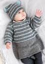 Для малышки 3-12 месяцев. Платье и шапочка с полосками. Спицы