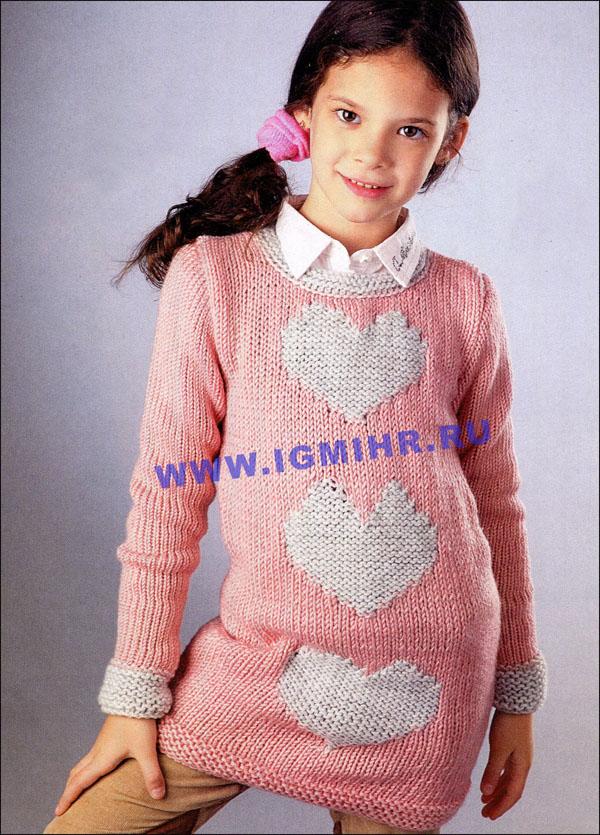 Платье с сердечками спицами
