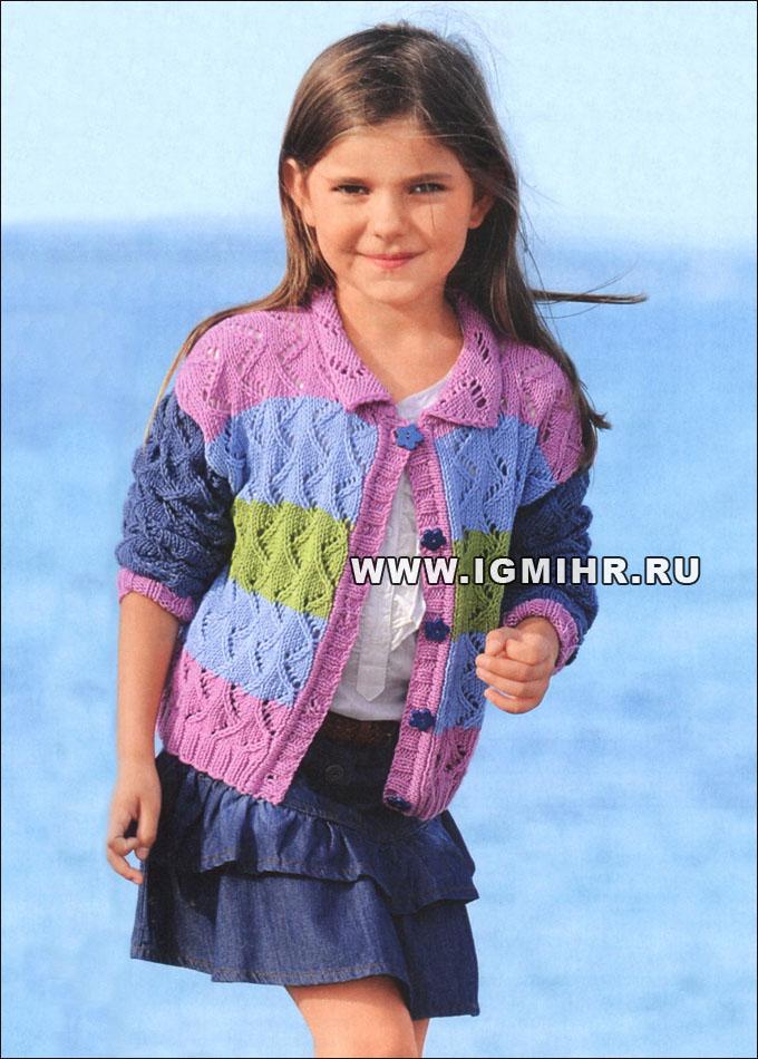 жакет в полоску с ажурным узором для девочки 5 11 лет спицы