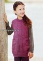 Удобная фиолетовая туника с карманами для девочки. Спицы