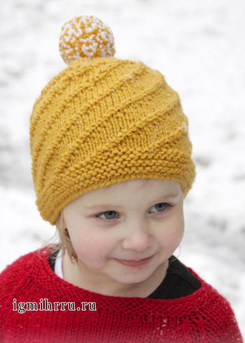Шерстяная шапочка горчичного цвета с помпоном, для девочки, от Drops Design. Спицы