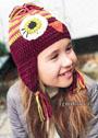 Веселая шапочка Попугай, для девочки 4-8 лет. Крючок