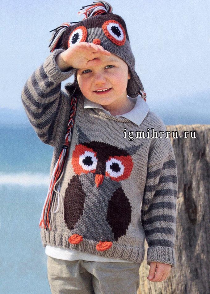 Забавные мотивы на радость детишкам. Пуловер и шапочка с совой для девочки, от Verena. Спицы