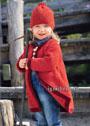 Теплое пальто и шапочка в красно-оранжевых тонах для девочки 1-6 лет. Спицы