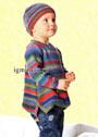 Разноцветный пуловер и шапочка для маленькой девочки. Спицы