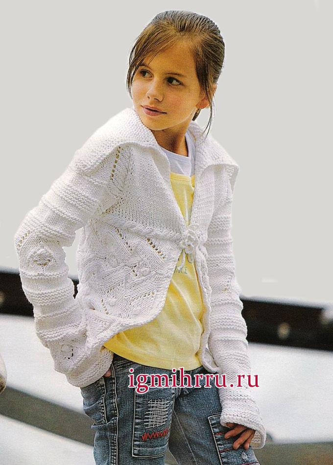 Белый ажурный жакет для девочки 10-11 лет. Вязание спицами