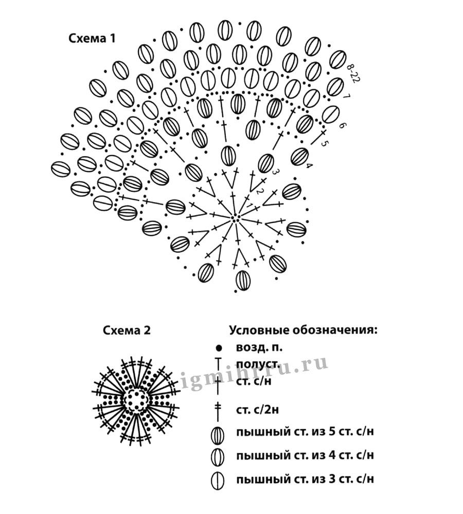Объемные узоры пышным столбиком крючком схемы6