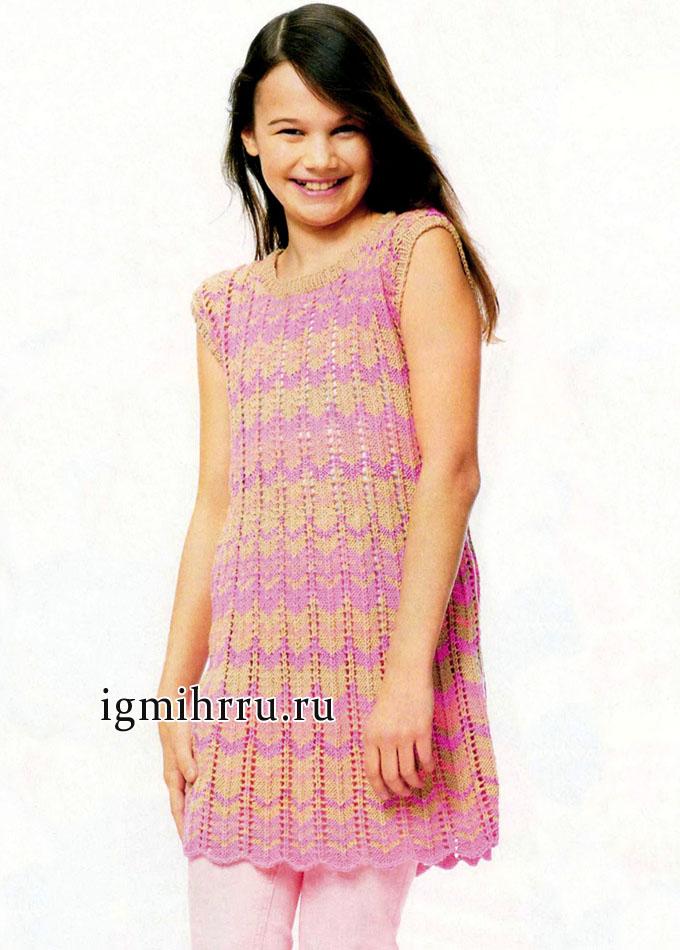 Летняя меланжевая туника в полоску, для девочки, от финских дизайнеров. Вязание спицами