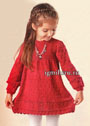 Красное платье с сердечками для девочки 3-4 лет. Спицы