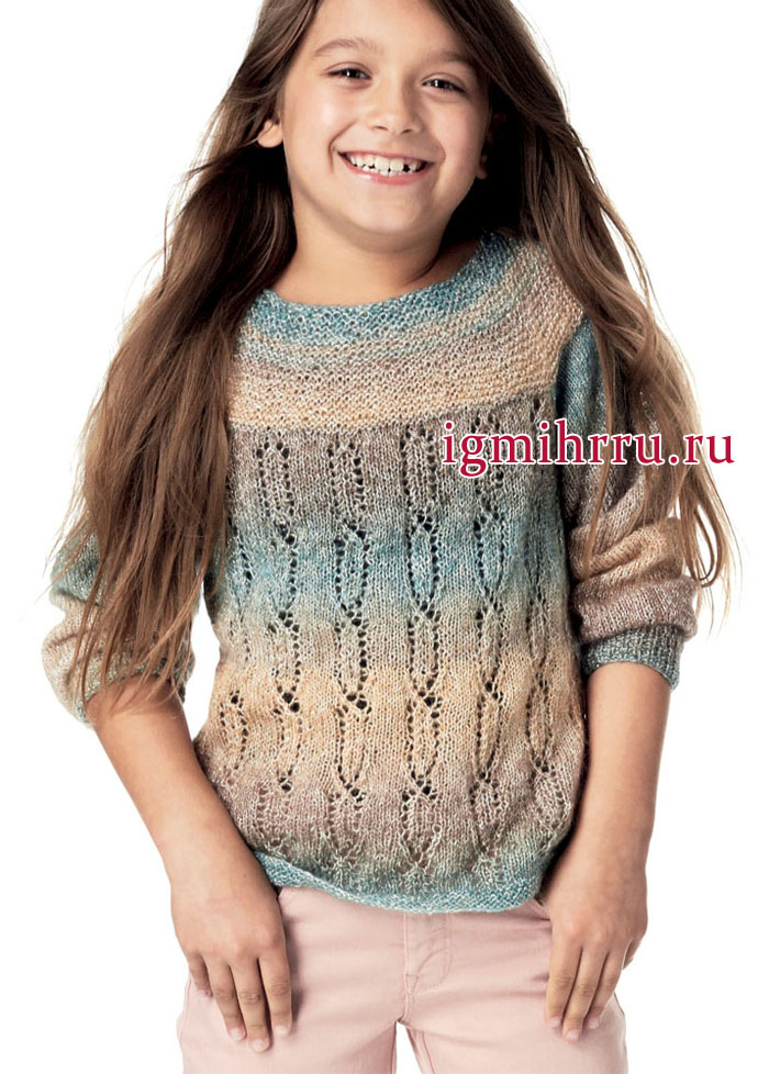 Джемпер с ажурными дорожками, для девочки 4-10 лет. Вязание спицами