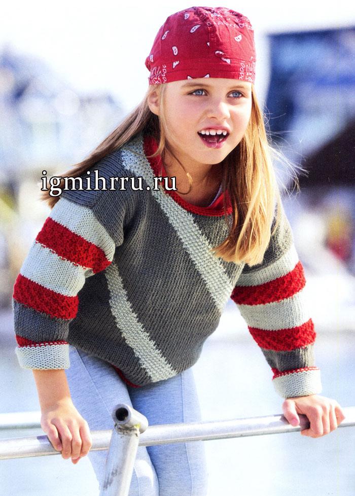 Пуловер в серо-красную диагональную полоску для девочки 3-9 лет. Вязание спицами