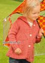 Для девочки 1,5-7 лет. Оранжевая кофточка с капюшоном и красивым мотивом Зонтик. Спицы