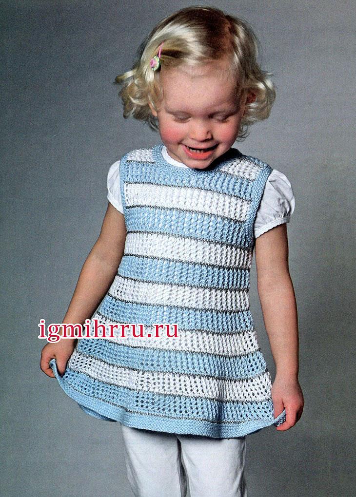 Для девочки 4-5 лет. Ажурная летняя туника в полоску. Вязание спицами