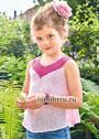 Розовый летний  топ для девочки 5-9 лет. Спицы