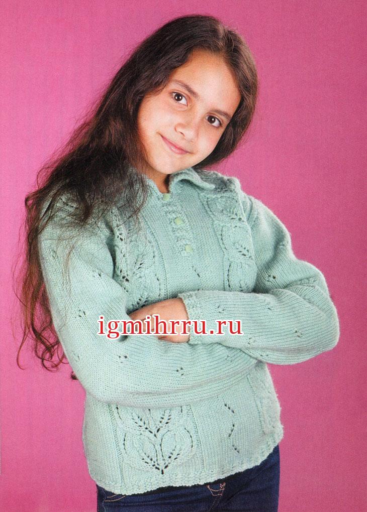 Пуловер с узором листья для девочки 10 лет. Вязание спицами