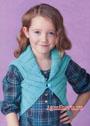 Для девочки 4-9 лет. Бирюзовый теплый жилет из резинки. Спицы