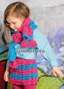 Для девочки 4-9 лет. Двухцветная ажурная юбка и шарф. Спицы