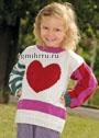 Для девочки 4-10 лет. Детский пуловер с мотивом Сердечко. Спицы