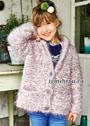 Для девочки 4-10 лет. Пушистый бело-розовый жакет с карманами. Спицы