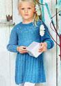 Для девочки 1,5-7 лет. Теплое платье с вышитыми звездочками. Спицы