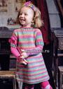 Разноцветное полосатое платье для девочки 1,5-5 лет. Спицы