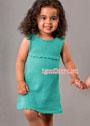 Летнее зеленое платье для маленькой девочки. Спицы