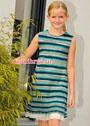 Для девочки 6-12 лет. Шелковое платье в сине-зеленую полоску. Спицы