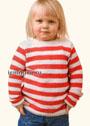 Для девочки 2-10 лет. Пуловер в красно-белую полоску. Спицы