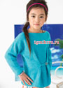 Для девочки 4-8 лет. Бирюзовый пуловер с декоративной пуговицей. Спицы