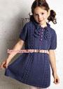 Для девочки 5-7 лет. Синее платье с косами и рюшами. Спицы