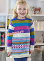 Для девочки 2-10 лет. Платье с жаккардовыми узорами и полосками. Спицы