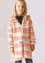 Для девочки 2-11 лет. Удлиненный жакет в разноцветную полоску. Спицы