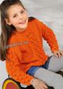 Для девочки 4-10 лет. Оранжевый теплый пуловер с фантазийным узором. Спицы
