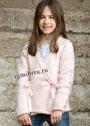 Для девочки 5-10 лет. Розовый жакет с бантиками. Спицы