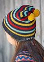 Теплая детская шапочка в полоску и с двумя помпонами. Спицы