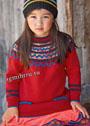 Для девочки 5-9 лет. Красный пуловер с круглой жаккардовой кокеткой. Спицы