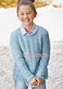 Для девочки 7-11 лет. Голубой пуловер с ажурным узором и бордюром. Спицы