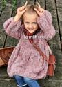 Для девочки 2-8 лет. Розовое платье с пышной юбкой и пышными рукавами. Спицы