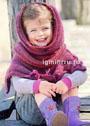 Для девочки 2-8 лет. Теплый комплект из пончо и шарфа-петли в лиловых тонах. Спицы
