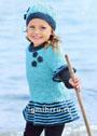 Для девочки 3-9 лет. Бирюзовая туника и шапочка, украшенные вязаными цветами. Спицы