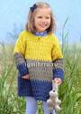 Для маленькой девочки 1-6 лет. Трехцветное теплое платье. Крючок