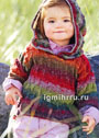 Для девочки 1-6 лет. Меланжевый пуловер с ажурным узором и капюшоном. Спицы