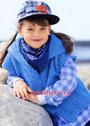 Для девочки 3-9 лет. Голубой жилет с застежкой-молнией и капюшоном. Спицы