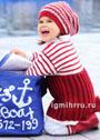 Для девочки 1,5-7 лет. Платье и шапочка в красно-белую полоску. Спицы