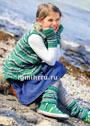 Для девочки 3-10 лет. Комплект в зелено-синих тонах: туника без рукавов, гетры и митенки в полоску. Спицы