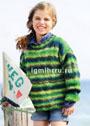 Для девочки 4-10 лет. Пуловер в зеленых тонах с рельефным узором. Спицы