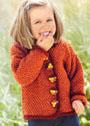 Для девочки 1,5-7 лет. Оранжево-красный теплый жакет на пуговицах. Спицы