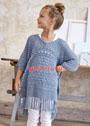Для девочки 3-13 лет. Голубой летний пуловер-пончо с сочетанием узоров. Спицы