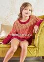 Для девочки 3-13 лет. Трехцветный пуловер с ажурным фантазийным узором. Спицы